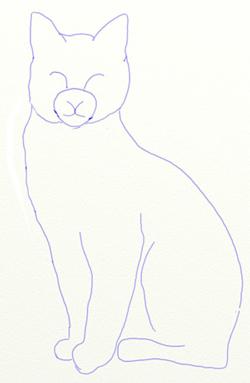 Как нарисовать кота, шаг 4