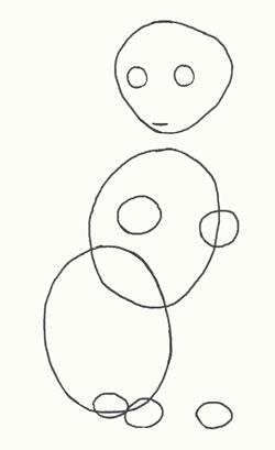 Рисунок кошки поэтапно, шаг 1