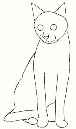 Как нарисовать кошку, шаг 3