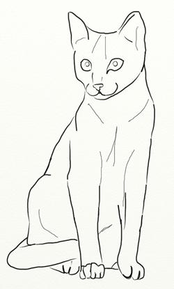 Как нарисовать кошку, шаг 4