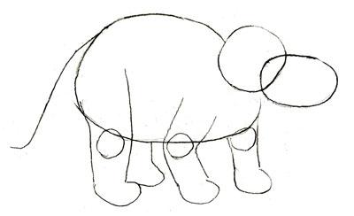 Рисунок динозавра, шаг 2