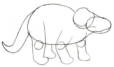 Рисунок динозавра, шаг 3