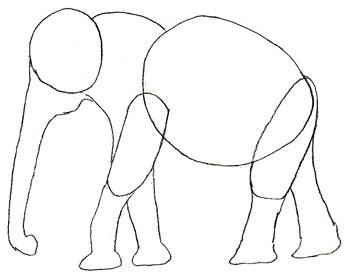 Как нарисовать слона, шаг 3
