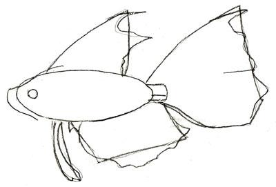 Как рисовать рыбу, шаг 3