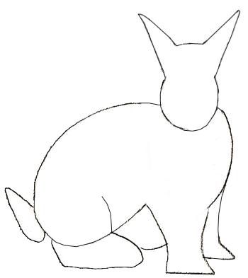 Как нарисовать кролика, шаг 3
