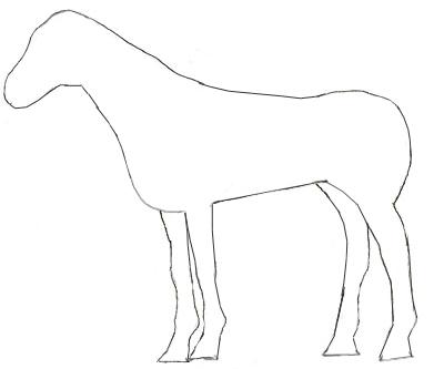 Рисунок лошади почти закончен