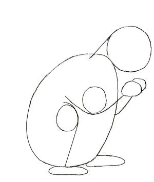 Рисунок белки карандашом, шаг 2