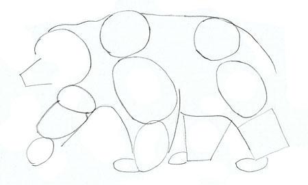 Как нарисовать медведя, шаг 3