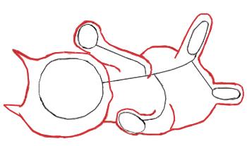 Как нарисовать котенка, шаг 2
