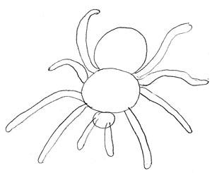 Как нарисовать паука, шаг 3