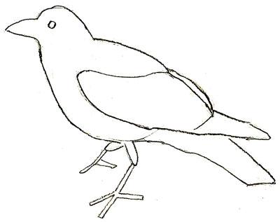 Как нарисовать ворону, шаг 4