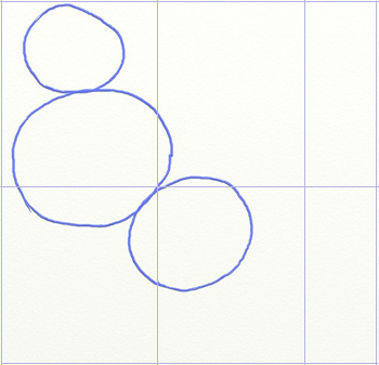 Как нарисовать снегиря, шаг 1