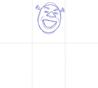 Как нарисовать Шрека, шаг 2