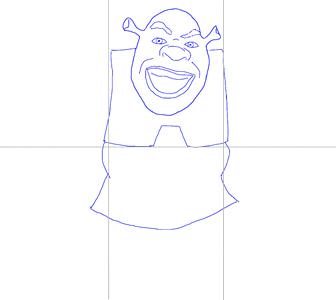 Как нарисовать Шрека, шаг 3