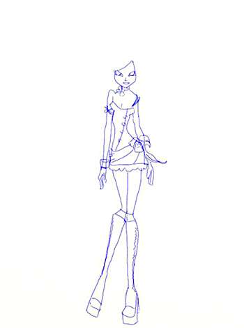 Как нарисовать Винкс, шаг 4