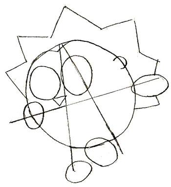 Рисунки смешариков, шаг 3