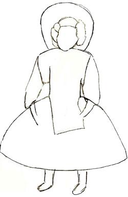 Как нарисовать куклу, шаг 4
