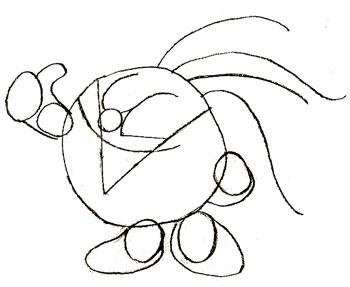 Как нарисовать смешариков, шаг 4