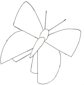Как нарисовать бабочку, шаг 3