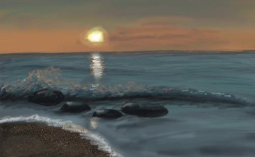Как рисовать море, шаг 6