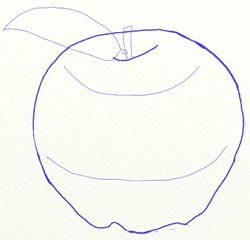 Как нарисовать яблоко, шаг 4