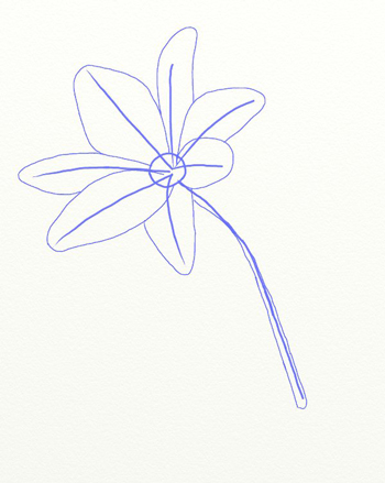 Как нарисовать лилию, шаг 3