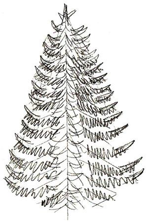 Рисунок новогодней елки, шаг 4