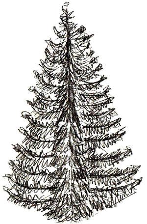 Рисунок новогодней елки, шаг 5