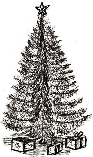 Рисунок новогодней елки, шаг 6