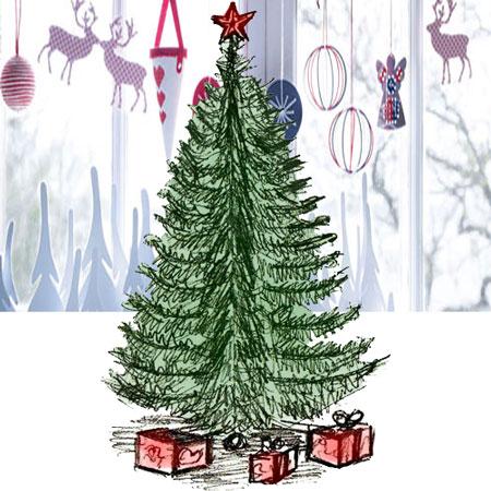 Рисунок новогодней елки