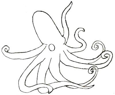 Как нарисовать осьминога, шаг 4