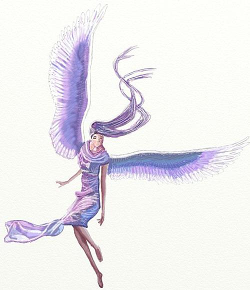 рисунки карандашом девушек ангелов: