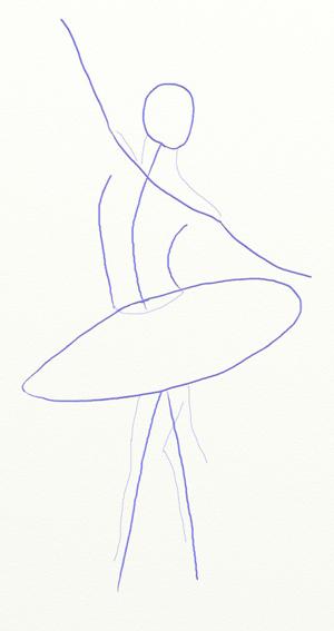 Как нарисовать балерину, шаг 2