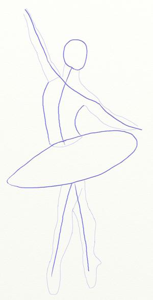 Как нарисовать балерину, шаг 3
