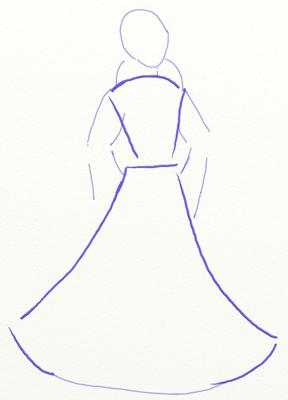 Как нарисовать Снегурочку, шаг 1
