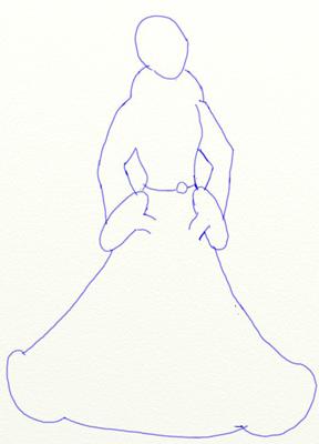 Как нарисовать Снегурочку, шаг 2