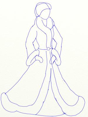 Как нарисовать Снегурочку, шаг 3