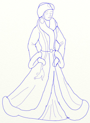 Как нарисовать Снегурочку, шаг 4