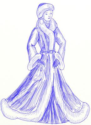 Как нарисовать Снегурочку, шаг 5