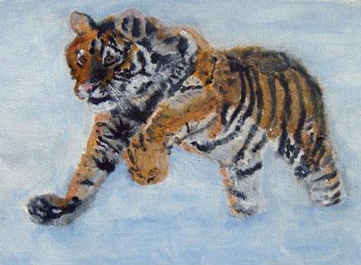 Рисунок бегущего тигра