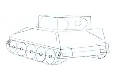 Как нарисовать танк Т-34 шаг 4