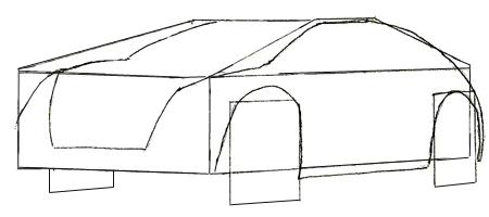 Как нарисовать машину, шаг 3