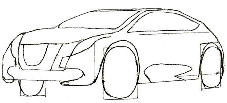 Как нарисовать машину, шаг 4