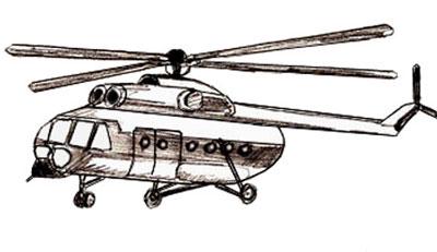 Как нарисовать вертолет, шаг 5