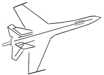 Как нарисовать самолет, шаг 2