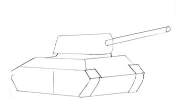 Как нарисовать танк, шаг 3