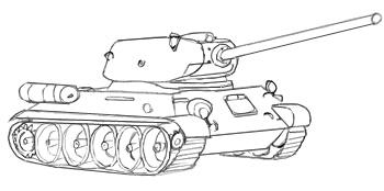 поэтапно нарисовать военную технику