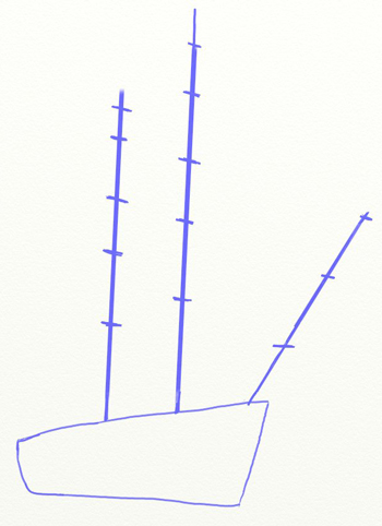 Как нарисовать парусный корабль, шаг 2