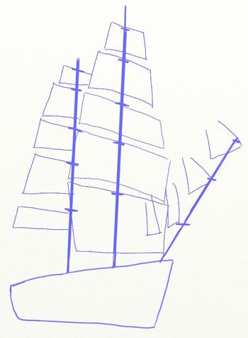 Как нарисовать парусный корабль, шаг 3