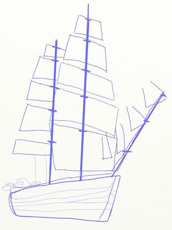 Как нарисовать парусный корабль, шаг 4